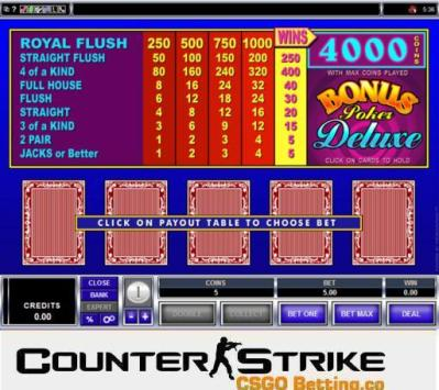 CS GO Bonus Poker Deluxe Video Poker Games