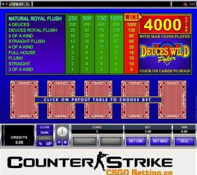 CS GO Deuces Wild Video Poker Games