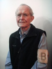 "B --- is for BRITISH:  James H. Taylor, III, wears the armband required for prisoners of the Japanese in Chefoo (now called Yantai), Shandong Province, China. Immediately after Japan attacked Pearl Harbor, December 7, 1941, the Japanese commandeered the Chefoo School and its students and immediately required that when any ""enemy alien"" left the school campus he must wear an armband that included a large black letter to indicated his nationality -- B or British, A for American, etc. Taylor was a 12-year-old student when the Japanese took over the Chefoo School. - courtesy of Mary Previte"