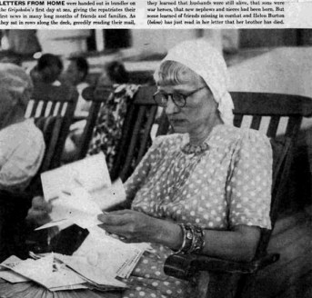 Helen Burton, reading the letter notifying her of her brother's death, taken by the Times Magazine