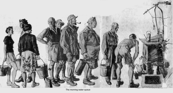"""The Morning Water Queue"" drawing at Weihsien by William A. Smith - courtesy Weihsien-Paintings"