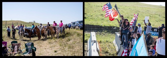 Activists on horseback and along their line - photos by Shane Balkowitsch