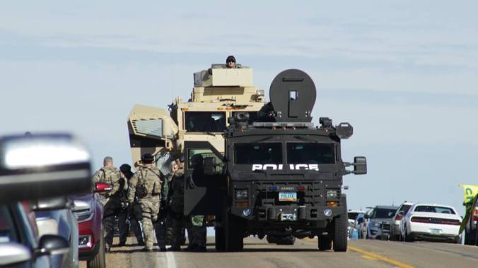 Armored police vehicles outside of St. Anthony, ND - online sources