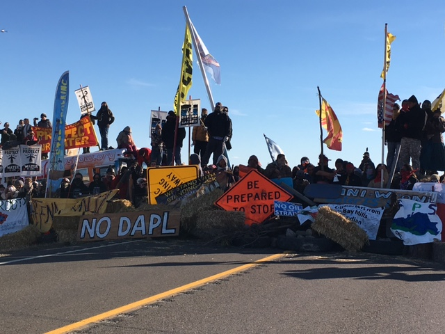 Barricade across Highway 1806 built by activists on Sunday, Oct. 23 - photo provided by Morton County Sheriff's Department