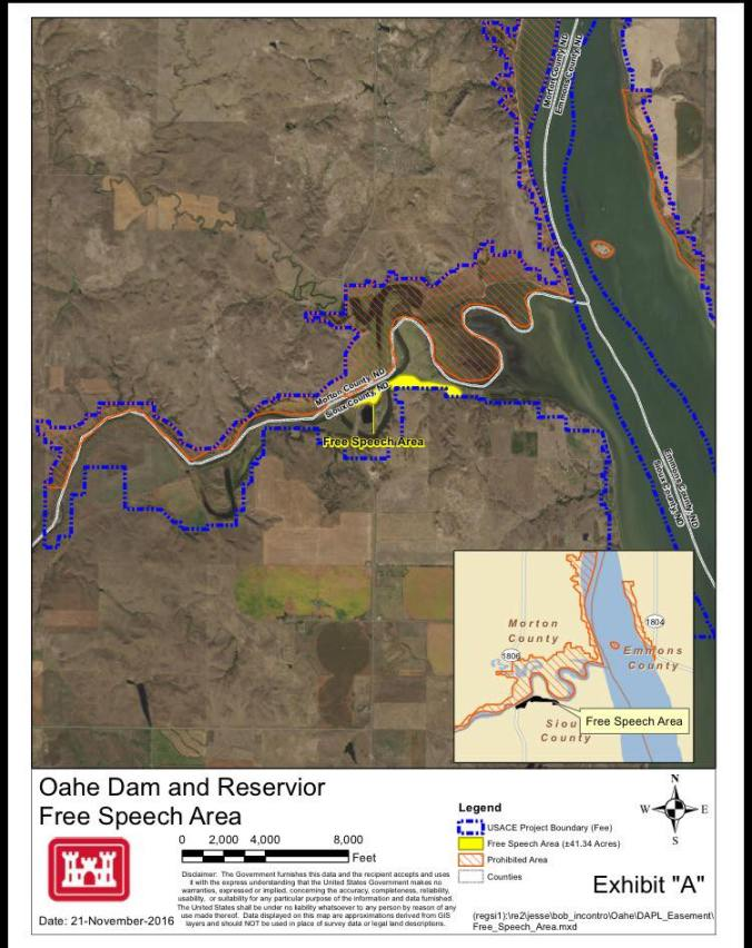 U.S. Army Corps of Engineers map of the area surrounding Oceti Sakowin