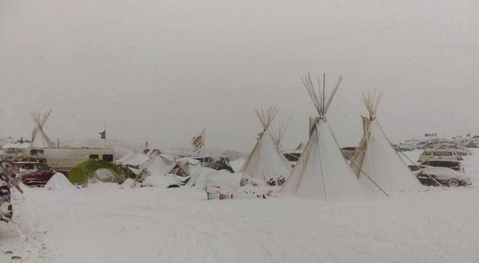 Snow at Oceti Sakowin - photo by Leland B Benoist