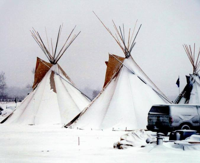 Tipis with snow at Oceti Sakowin - photo provided by Terry Wiklund
