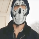 Man in skull mask