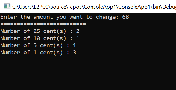 Coin change problem in C# – C# Programming Example