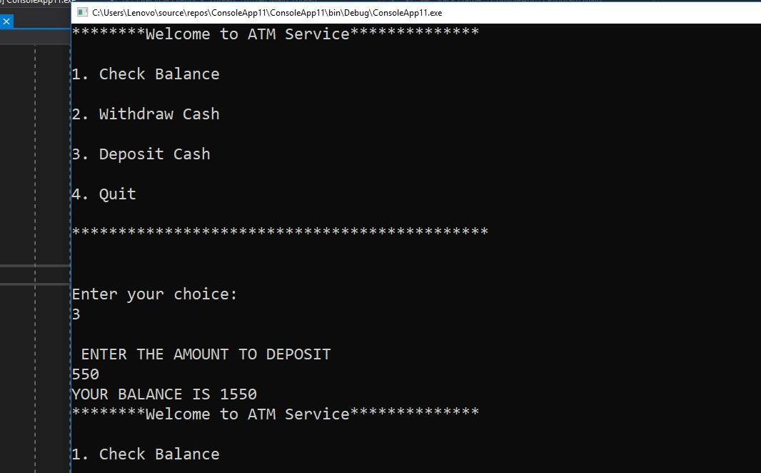 Display the ATM Transaction in C# – C# Programming Example