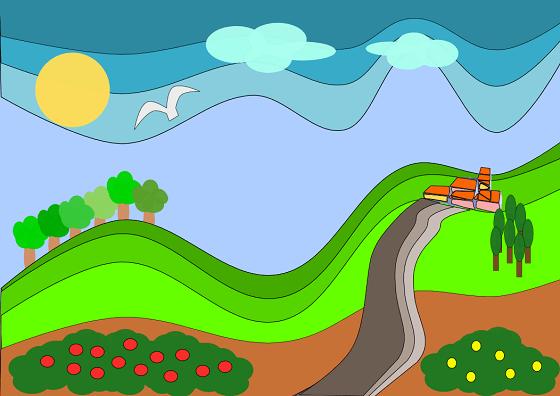 Un paesaggio in stile cartoon con Inkscape