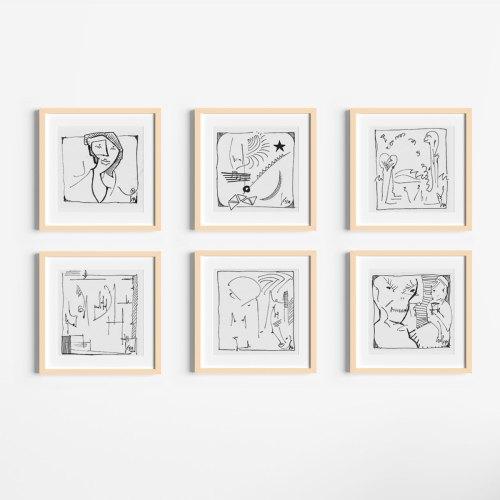 6 Karten Set - Tusche Zeichnungen