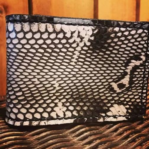 Crimson Serpents Leather Goods white cobra bill-fold wallet