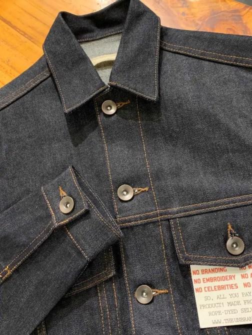 Unbranded UB901 denim jacket made from 14.5 oz. selvedge denim.