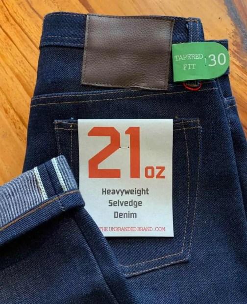 Unbranded UB221 Tapered 21 oz. Heavyweight Indigo Selvedge Jeans