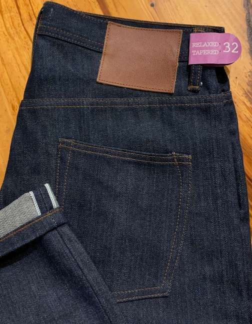 Unbranded UB601 relaxed tapered 14.5 oz. indigo selvedge jeans.