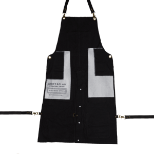 Knife and Flag Black Split-Leg Apron