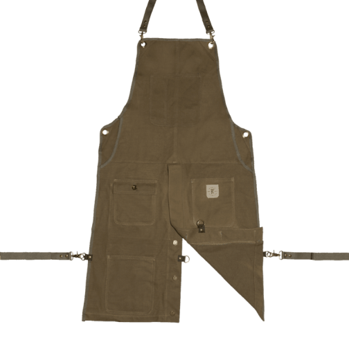 Knife and Flag Olive Split-Leg Apron Front