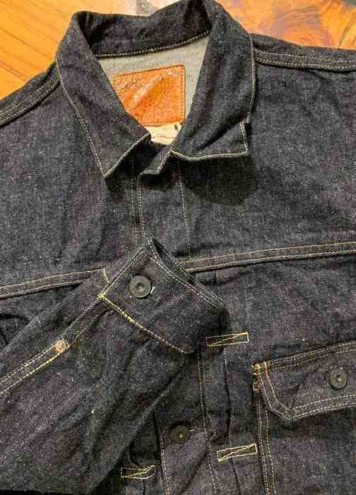 Burgus Plus Lot 71928-XX Natural Indigo Selvedge Denim Jacket.