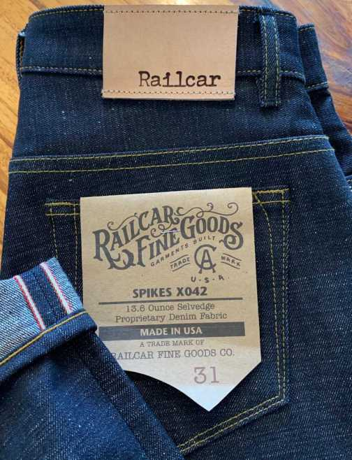 Railcar Fine Goods X042 Spikes 13.6 oz. Slim Tapered Jeans