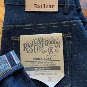 Railcar Fine Goods X042 Spikes 13.6 oz. Slim Tapered Jeans