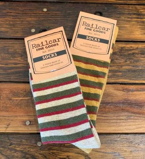 Railcar Fine Goods Striped Socks. Tan and Mustard Colorways.