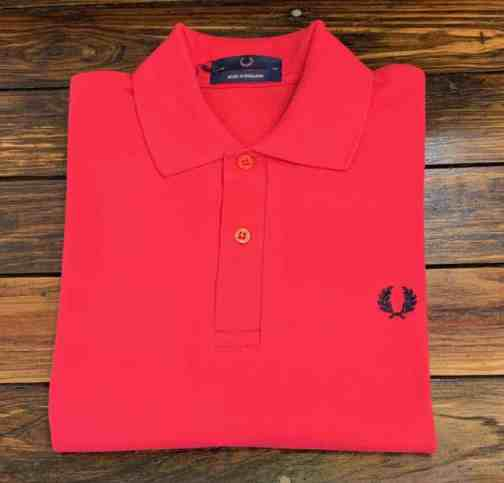 M3 solid red Fred Perry Shirt. Made in England.