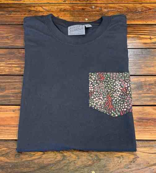 Naked and Famous Denim Black Pocket Tee with an allover flower pattern chest pocket