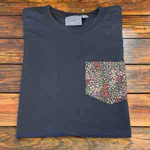 Naked and Famous Allover Flowers Black Pocket Tee