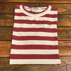 WHOLE Cranberry Striped Short Sleeve T-shirt