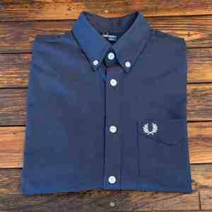 Fred Perry M3531 Navy Short Sleeve Classic Oxford Shirt
