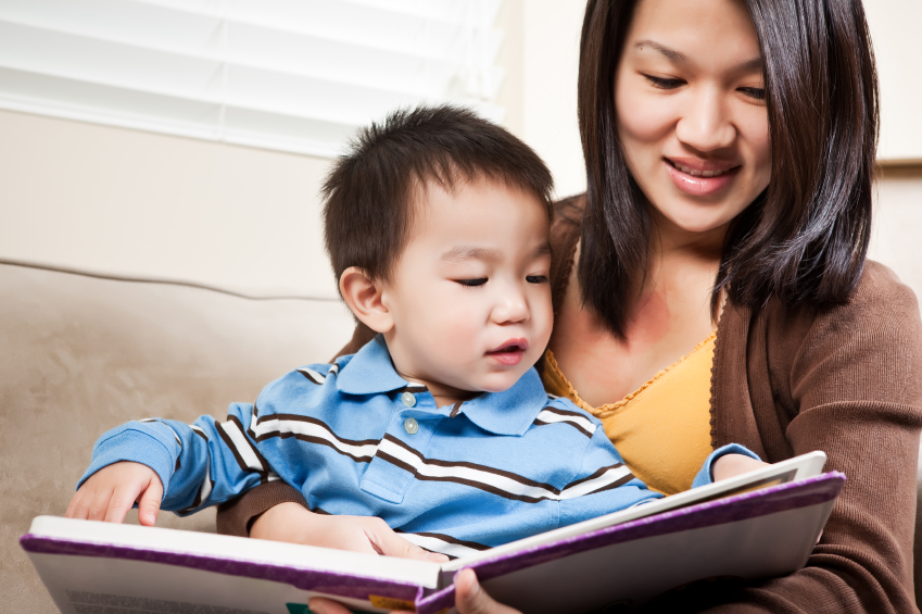 Mother and son reading