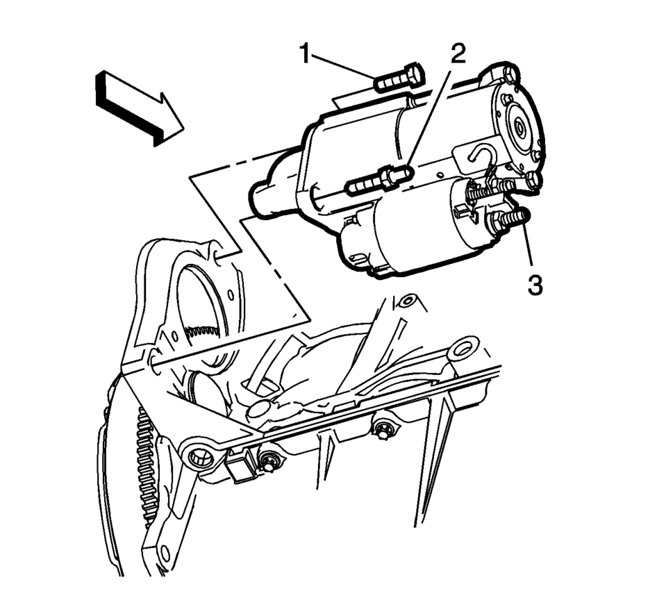 medium resolution of remove the starter solenoid fastener 1 and the engine harness terminal 2 from the starter solenoid