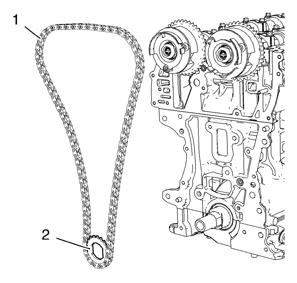 medium resolution of install the timing chain 1 and crankshaft sprocket 2 together as a unit