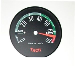 1960early Corvette Tachometer Face – High RPM – New