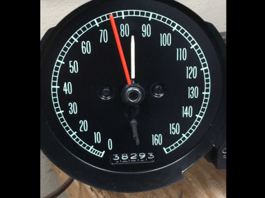 This is an after on the 1967 speed warning speedometer. Faec was straightened and re-screened. Mechanism rebuilt with functioning speed warning alert!