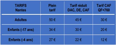 tarifs Nantes