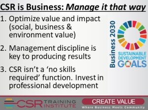 CSR is Business: Manage it that way