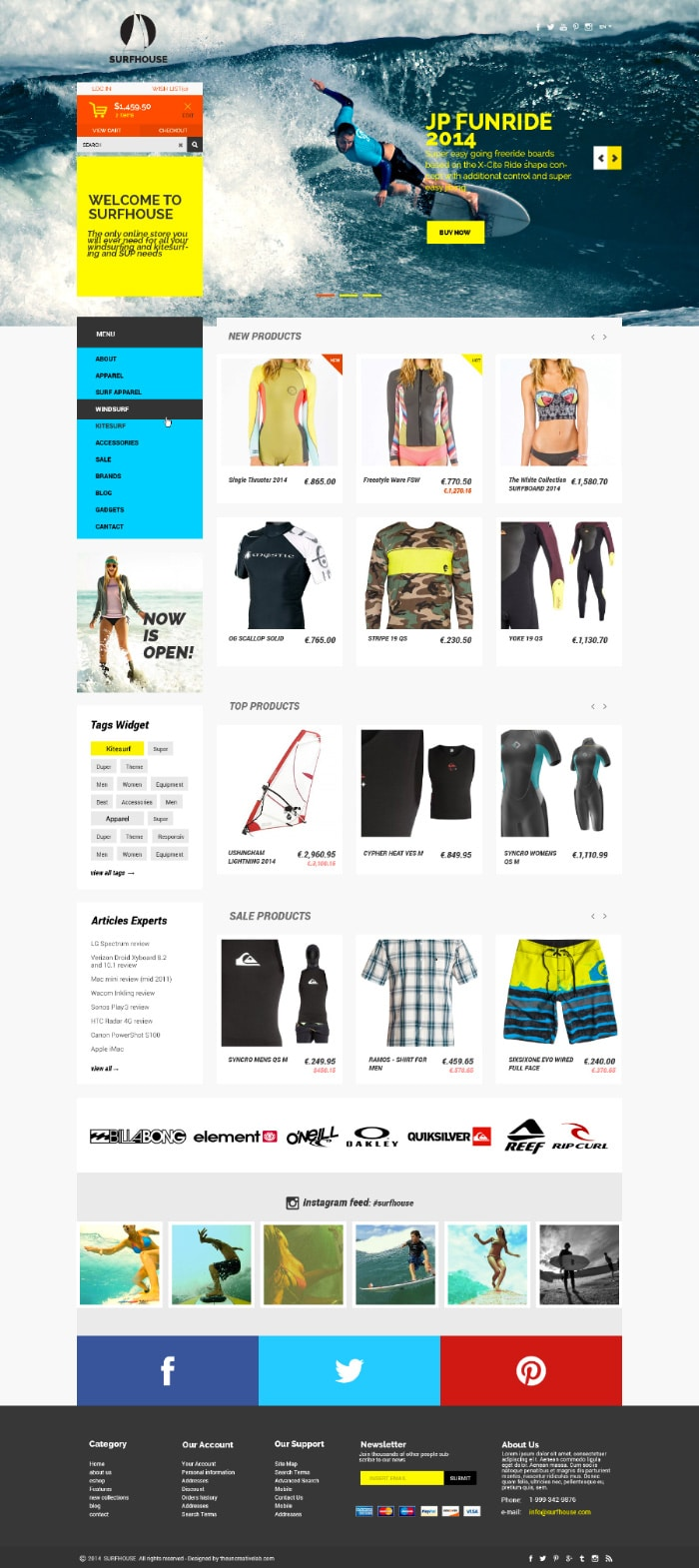 Surfhouse - Free E Commerce Template