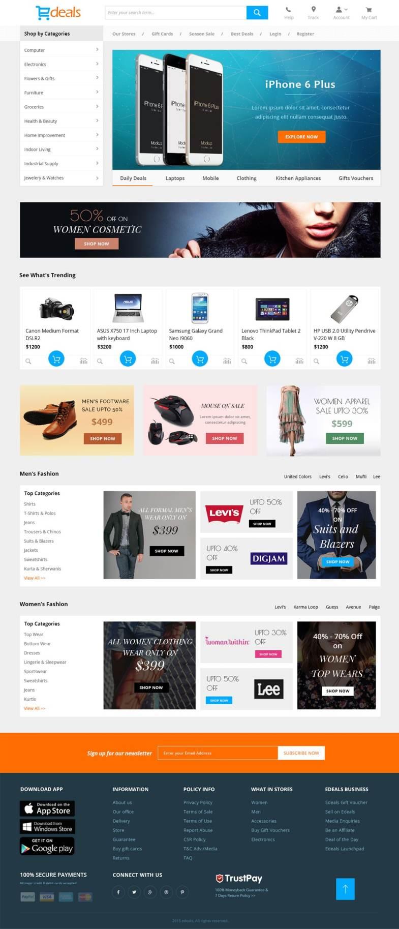 Edeals - Online Shopping Template PSD Бесплатные шаблоны для интернет-магазина psd - Edeals - Бесплатные шаблоны для интернет-магазина PSD