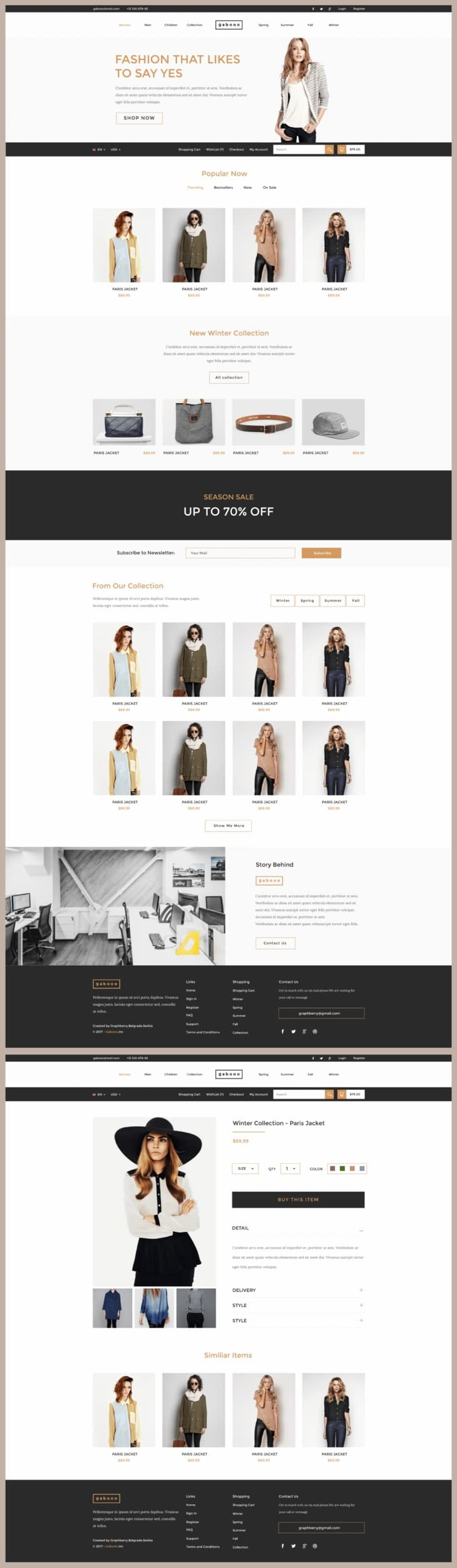 Gabooo Free Fashion eCommerce Theme PSD