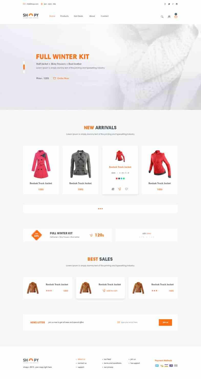 Shopy Бесплатные шаблоны для интернет-магазина psd - Shopy - Бесплатные шаблоны для интернет-магазина PSD