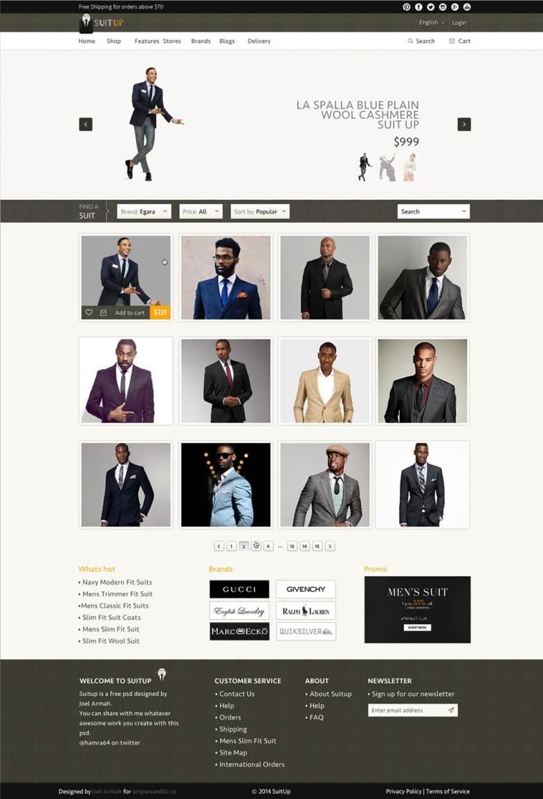 Suit Up Бесплатные шаблоны для интернет-магазина psd - Suit Up - Бесплатные шаблоны для интернет-магазина PSD