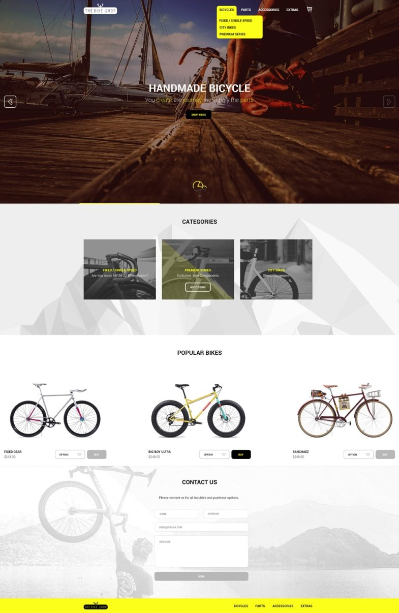 The Bike Shop - Free Home Page PSD Бесплатные шаблоны для интернет-магазина psd - The Bike Shop Free Home Page PSD - Бесплатные шаблоны для интернет-магазина PSD