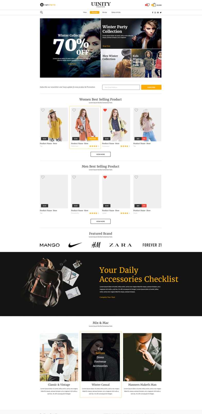 Uinity Fashion Store Web Template PSD