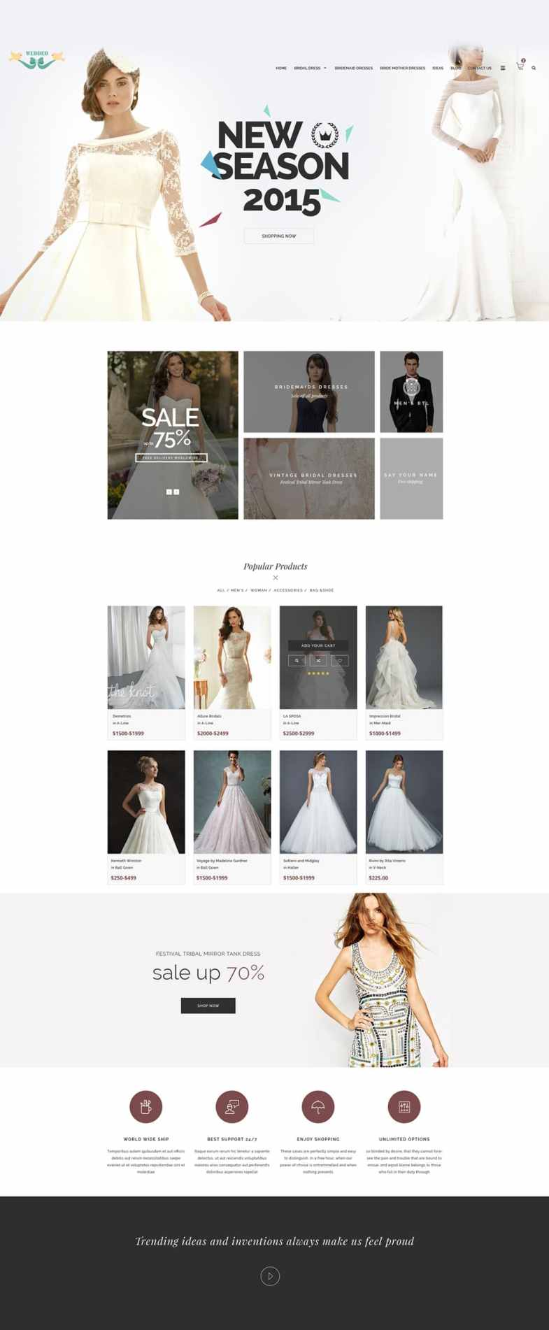 Wedding-Dresses Бесплатные шаблоны для интернет-магазина psd - Wedding Dresses - Бесплатные шаблоны для интернет-магазина PSD
