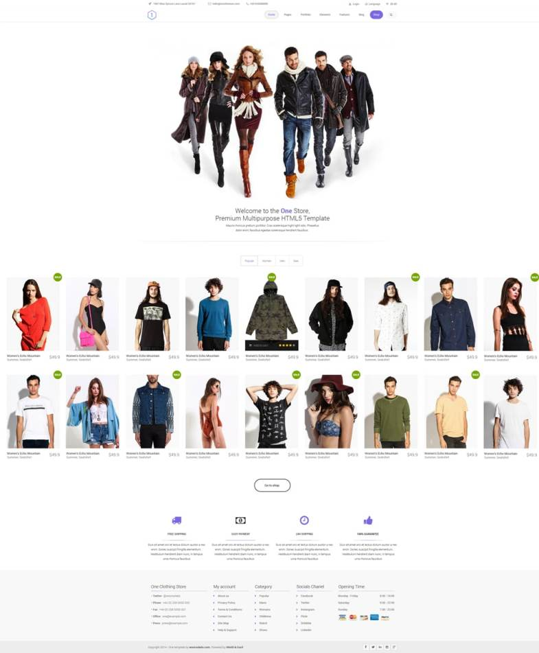 One - Clean Ecommerce Template PSD