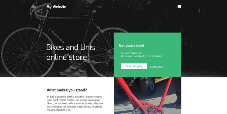 Online Store Web Template for Bikes PSD