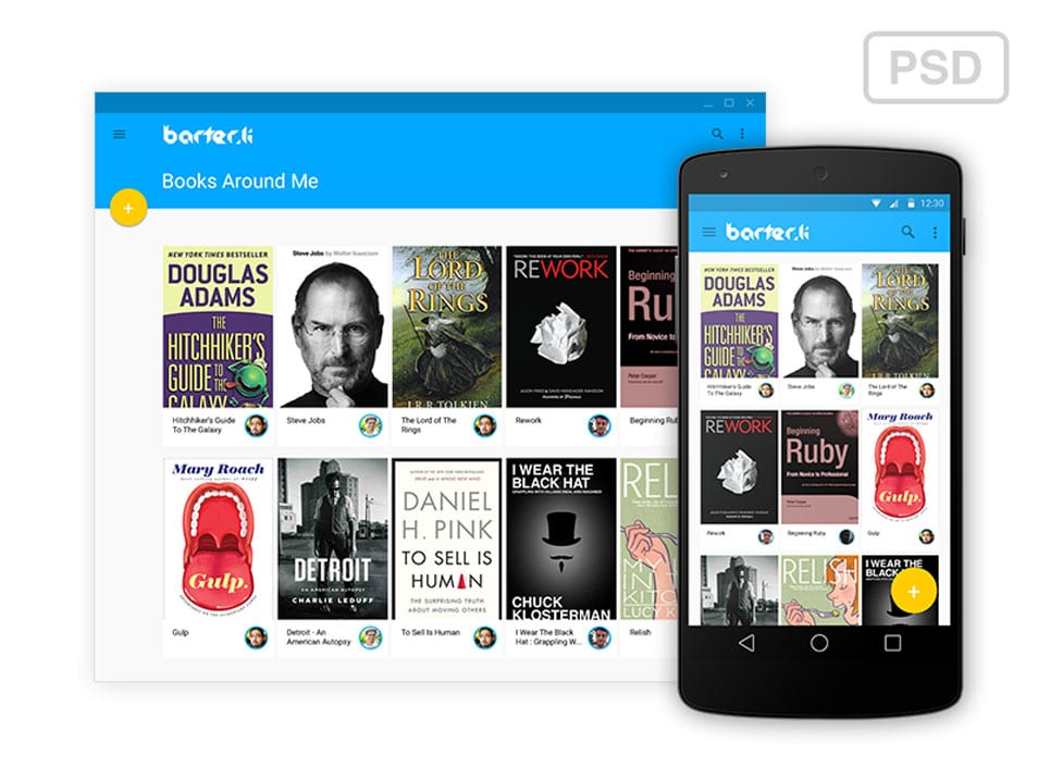 Barter.li - Android L Web and Mobile Interface