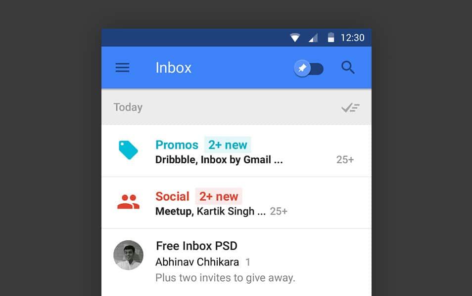 Free Google Inbox PSD